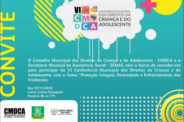 VI CMDCA será realizada em Santa Rosa do Piauí nesta próxima quarta-feira(07)