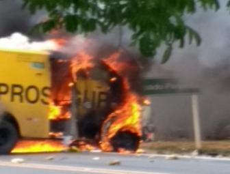 Bandidos estouram carro forte na BR 230 próximo a São João da Varjota