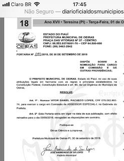 """Prefeitura de Oeiras no Piauí exonera """"assessora fantasma"""" e nomeia adolescente para o seu lugar"""